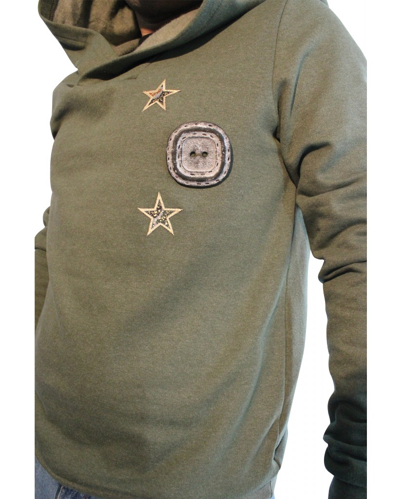 Men's sweater with button and stars 588