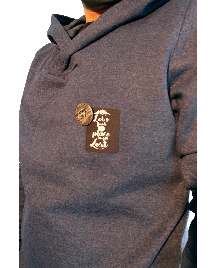 Men's sweater with button and iron-on transfer 598