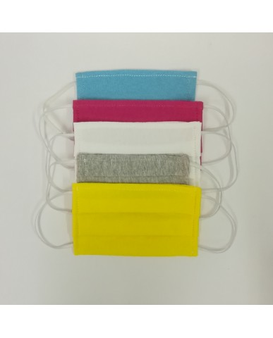 Fabric face mask with pleats (5pcs) -02