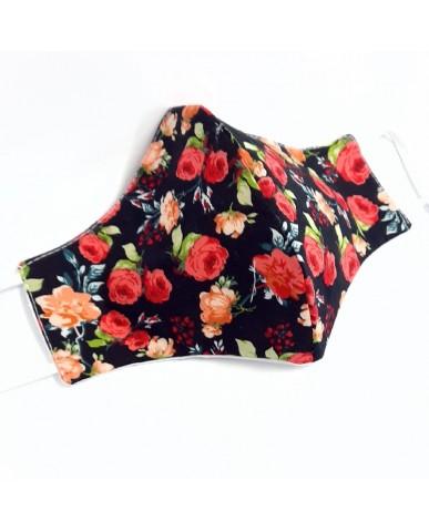 """Τριγωνική υφασμάτινη μάσκα προσώπου ΤΡΙΠΛΗΣ ΠΡΟΣΤΑΣΙΑΣ """"Flowers"""" 040F3"""
