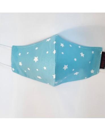 """Τριγωνική υφασμάτινη μάσκα προσώπου ΤΡΙΠΛΗΣ ΠΡΟΣΤΑΣΙΑΣ  """"Stars&Clouds"""" - 040S3"""