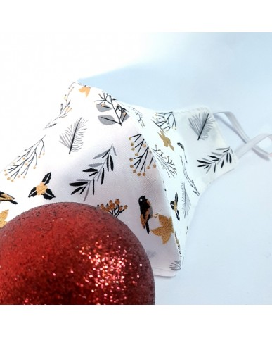 "Christmas Time Triangular fabric face mask poplin ""Birds"" - CHR03"