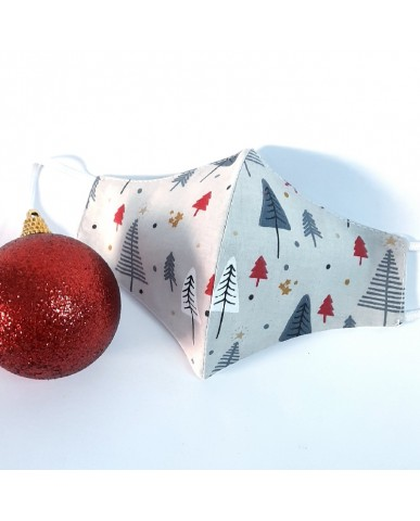"Christmas Time Triangular fabric face mask poplin ""Christmas tree"" - CHR05"