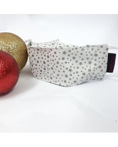 "Christmas Time Yφασμάτινη μάσκα προσώπου Καραμέλα ""Grey glitter"" - CHR18"