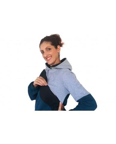 Φούτερ μπλούζα θηλασμού τρίχρωμη 1001-Grey