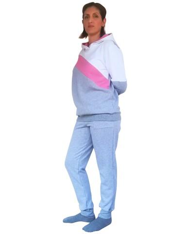Φούτερ μπλούζα θηλασμού τρίχρωμη 1001-Pink