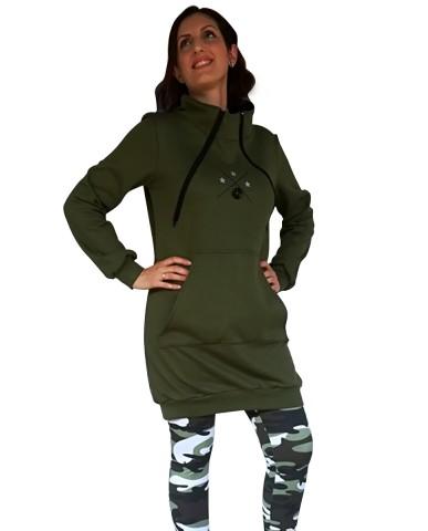 Φούτερ μπλουζοφόρεμα θηλασμού με γιακά 485Α