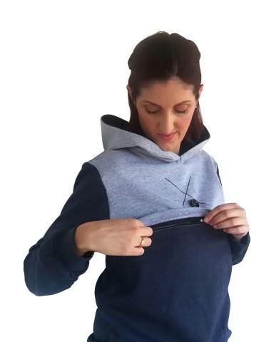 Δίχρωμη φούτερ μπλούζα θηλασμού 9913A